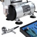 Airbrushset met compressor, double action verfspuit Timbertech